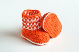 Ribbed Luck Crochet Baby Booties