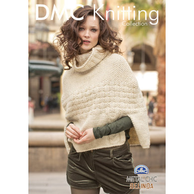 Roll Neck Poncho With Crochet Edgings in DMC Metal Chic Belinda - 15150L/2