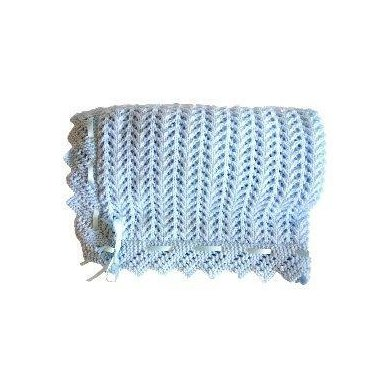 Double knit baby buggy blanket with lace edging