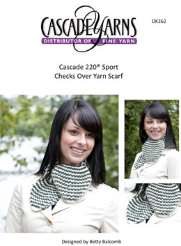 Checks Over Yarn Scarf in Cascade 220 Sport - DK262