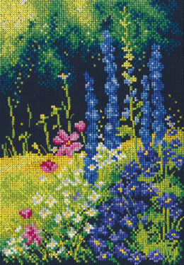 Rto Delphinium & Cosmos Cross Stitch Kit - Multi