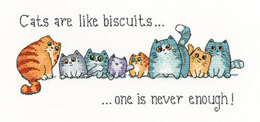 Heritage Cats and Biscuits Cross Stitch Aida Kit - 22.5cm x 10cm
