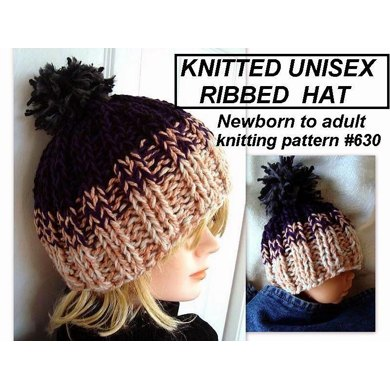 630 UNISEX RIBBED KNIT BEANIE, BABY TO ADULT