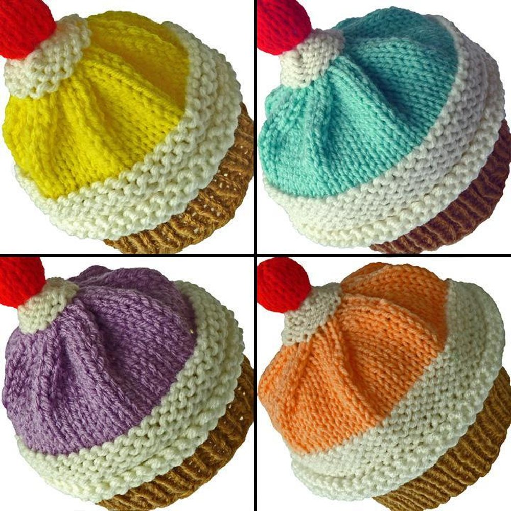 Knitting Pattern Cupcake Beanie : Sundae Cupcake Hat Knitting pattern by KittyKnits