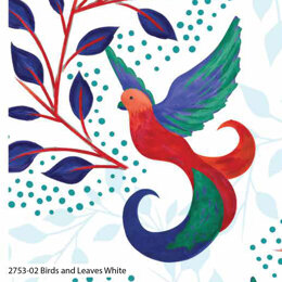 Craft Cotton Company Birds of Paradise - Birds and Leaves White