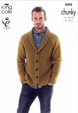 Cardigan and Hoodie in King Cole Big Value Chunky  - 4088