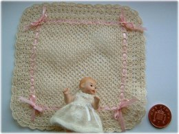 1:12th scale Lace baby shawl