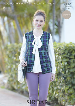 V-Neck Waistcoat in Sirdar Country Style 4 Ply - 7112