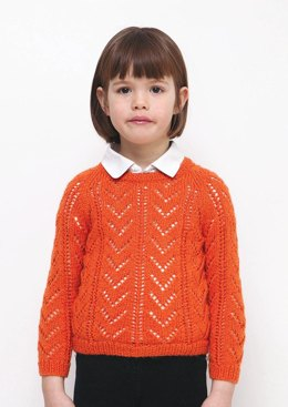 Girls Lacy Sweater in Bergere de France Ideal - 60508-441 - Downloadable PDF