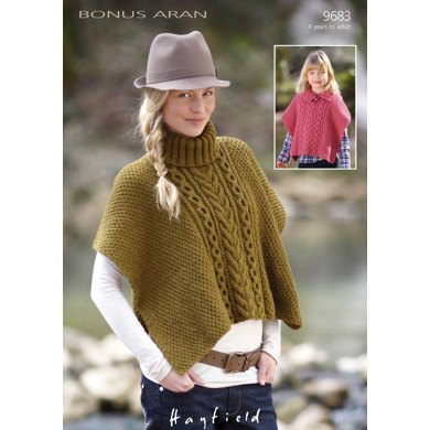 Cable Detail Poncho in Hayfield Bonus Aran with Wool - 9683