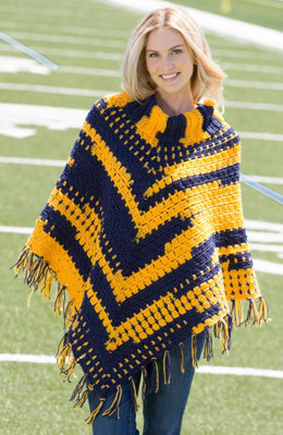 Sporty Crochet Poncho in Red Heart Team Spirit - LW4967 - Downloadable PDF