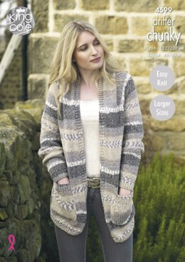Ladies' Cardigans in King Cole Drifter Chunky - 4599 - Downloadable PDF