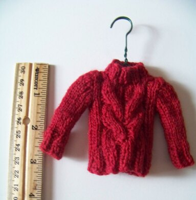 Christmas Tree Ornament Tiny Cable Sweater