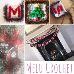 Merry Christmas Bunting decoration pattern by Melu Crochet