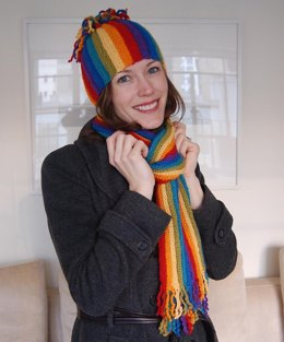 Rainbow Hat and Scarf to Knit