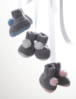 Pompom Booties in Bernat Softee Baby Solids
