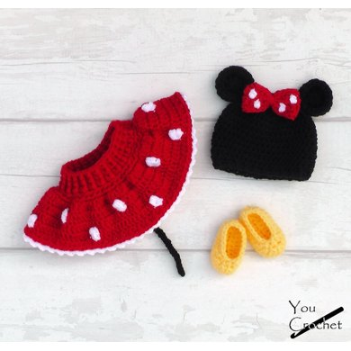 Minnie Mouse Diaper Cover Skirt Set Crochet Pattern By You Crochet