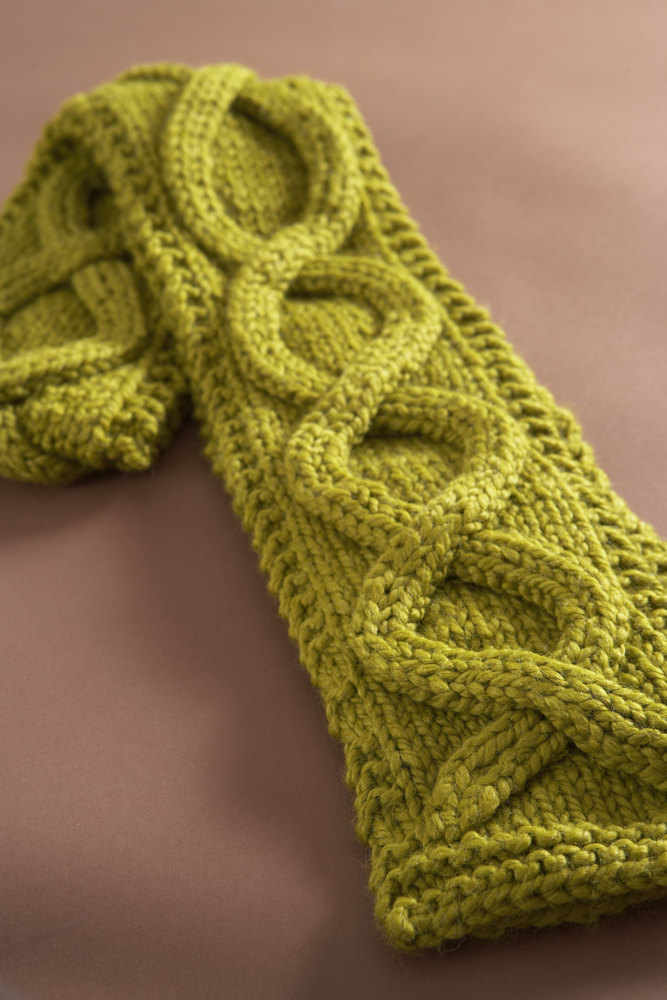 Knitting Pattern Scarf Thick Wool : Faux Cable Scarf in Lion Brand Wool-Ease Thick & Quick - 60674AD Knitti...
