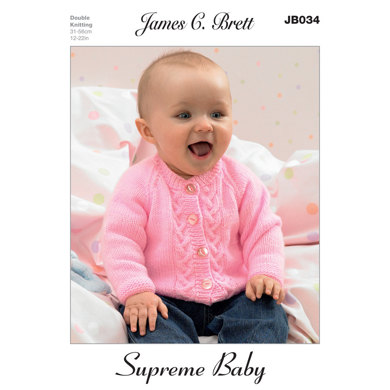 Hat and Cardigans in James C. Brett Supreme Baby DK - JB034