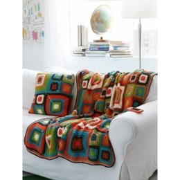 Bright Squares Blanket and Pillow in Patons Canadiana