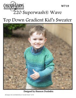 Top Down Gradient Kid's Sweater in Cascade 220 Superwash Wave - W719 - Downloadable PDF