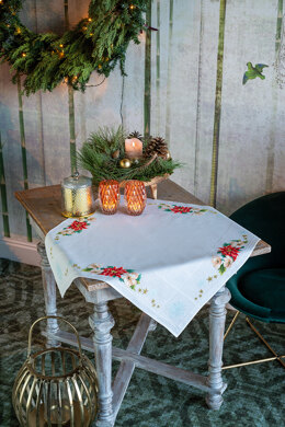 Vervaco Christmas Flowers Aida Tablecloth Cross Stitch Kit