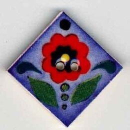 Mill Hill Button 87013 - Red Flower on Blue