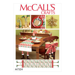 McCall's Christmas Table Runners, Decorations, Chair Back Cover and Silverware Holder M7524 - Sewing Pattern