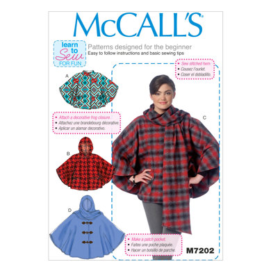 McCall's Misses' Ponchos M7202 - Sewing Pattern