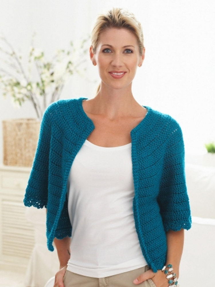 Cape Sleeved Cardi In Caron Simply Soft Light