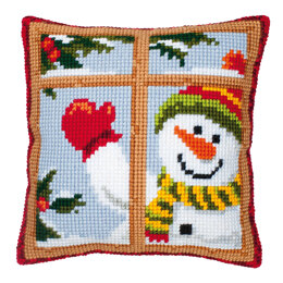 Vervaco Happy Snowman Cushion Front Chunky Cross Stitch Kit - 40cm x 40cm