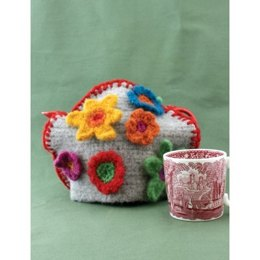 Felt and Flower Tea Cozy in Patons Classic Wool Worsted - Downloadable PDF