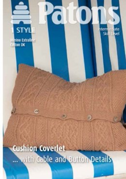 Cushion Coverlet with Cable and Button Details in