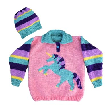 Unicorn Sweater and Hat Knitting pattern by iKnitDesigns