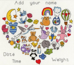 Bothy Threads Baby Heart Cross Stitch Kit - 27cm x 24cm