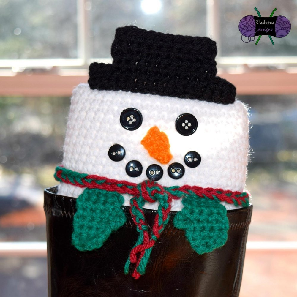Peeping Snowman Boot Cuffs Crochet Pattern By Sonya Blackstone