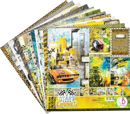 """Ciao Bella Double-Sided Paper Pack 90lb 12""""X12"""" 12/Pkg - Start Your Engines, 12 Designs/1 Each"""