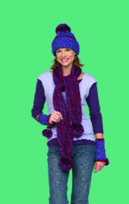 Crochet Scarf Hat & Wristlets in Red Heart Soft Solids - LW1535