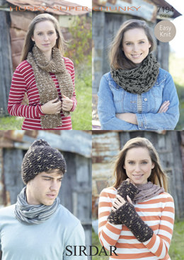 Scarf, Hat, Wrist-Warmers & Double Loop Snood in Sirdar Husky - 7194