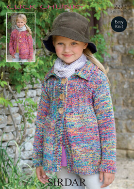 Round Neck and Collar Neck Cardigans in Sirdar Click Chunky - 2273 - Downloadable PDF