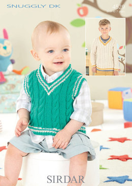 Boys Sweater and Baby Tank Top in Sirdar Snuggly DK - 4529
