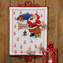 Permin Elf & Owl Advent Calendar Cross Stitch Kit - 58cm x 41cm