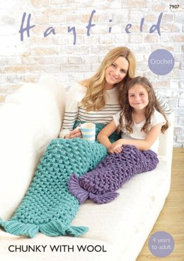 Women and Girls Mermaid Tails in Hayfield Chunky with Wool - 7907 - Downloadable PDF