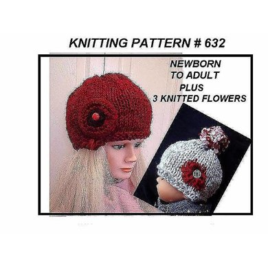 632 RED HAT, Knitting pattern, baby to adult