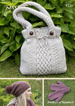 Handbag, Hat and Mitts in Twilleys Freedom Alfresco Aran - 9211