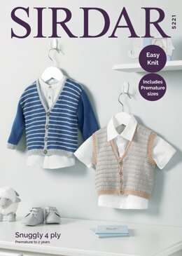 Boy's Cardigan and Waistcoat in Sirdar Snuggly 4 Ply - 5221 - Downloadable PDF