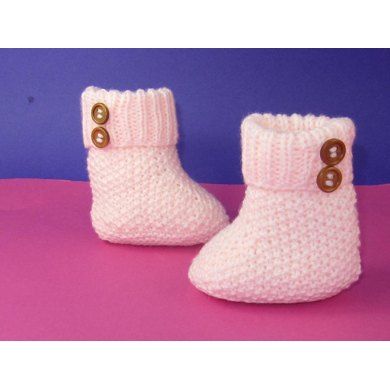 Easy Baby 2 Button Moss Stitch Booties