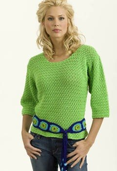 Crochet Lime Pullover with Granny Belt in Tahki Yarns Cotton Classic