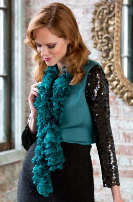 Desiree's Ruffled Scarf in Red Heart Boutique Sashay Sequins - LW3802 - Downloadable PDF