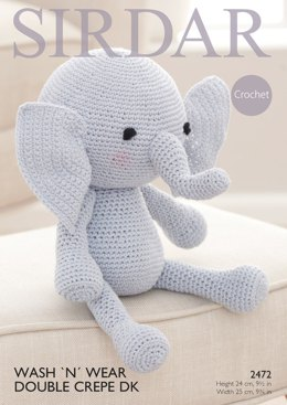 Elephant Toy in Sirdar Wash 'N' Wear Double Crepe DK - 2472- Downloadable PDF